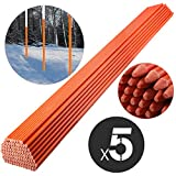 Mophorn Snow Stakes 5/16'' Diameter x 48'' Fiberglass Pole Reflective Driveway Marker Orange 500-Pack Plow Stakes for Easy Visibility at Night