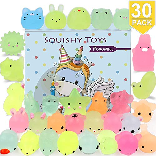 (POKONBOY Mochi Squishy Toys Glow in The Dark for Party Favors - 30 Pack Mini Kawaii Cute Animal Squishies Stress Relief Squishy Animals Mochi Cat Squishy with Gift)