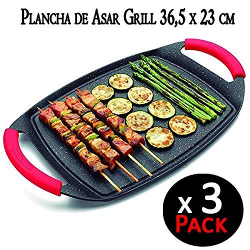 Suinga Pack 3 x Plancha DE Asar con Revestimiento DE Piedra ...