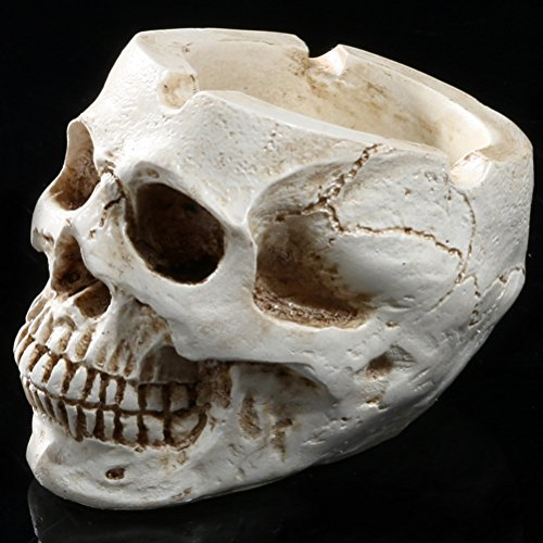 [Resin Human Skull Ashtray Home Ornaments Scary Halloween Decorations,Decorative Skulls,Skeletons Figurines for Bar Accessories,Smoking Room Decor for Smokers] (Halloween Room Accessories)