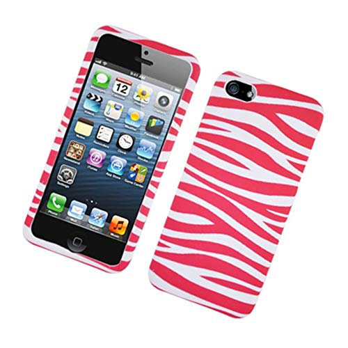 Insten Zebra Rubberized Hard Snap-in Case Cover Compatible with Apple iPhone 5/5S, Hot Pink/White