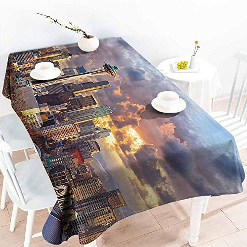 Homrkey Easy Care Tablecloth Apartment Decor Collection Seattle Skyline at Sunset WA USA Sun Lights Through Dramatic Clouds Scene Pattern Grey Blue Ivory Excellent Durability W50 xL80 (Best Crawfish In Seattle)