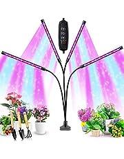 Grow Light for Indoor Plant, Semai 4 Head Plant Light Auto Timer 10 Adjustable Level 3/9/12H LED Grow Light for Potted, 80W 360°Adjustable Gooseneck Plant Light with Clip