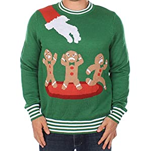 Tipsy Elves Ugly Christmas Sweater - Gingerbread Nightmare Sweater (Green)