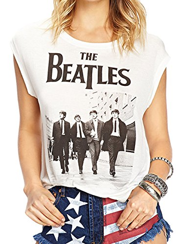 [Darceil Women's White Rock Band The Beatle Print Tank Top T Shirt (L, White)] (Womens Rock Band)