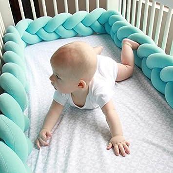 1,5m, Blau Kinderbett Knotenkissen Bettumrandung Sto/ßstange Baby Nestchen Weben Bettumrandung Kantenschutz Kopfschutz 1,5m//2m