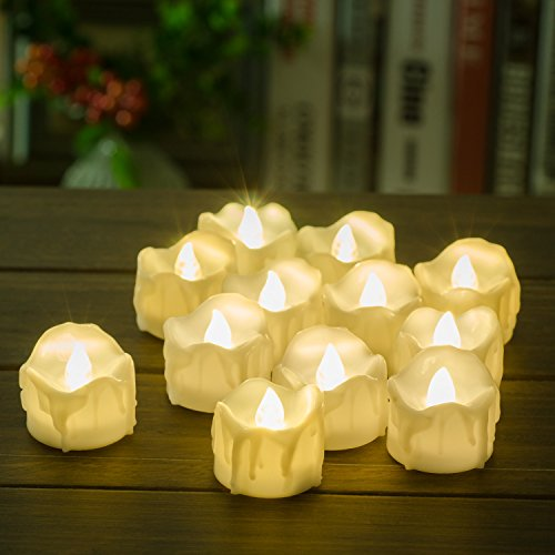 Timer Candles, 12pcs PChero Battery Operated LED Decorative Flameless Candles Flickering Tea Light, 6 Hours On and 18 Hours Off Per Cycle, Perfect for Birthday Wedding Party Home Decor - [Warm White] by PChero (Image #1)