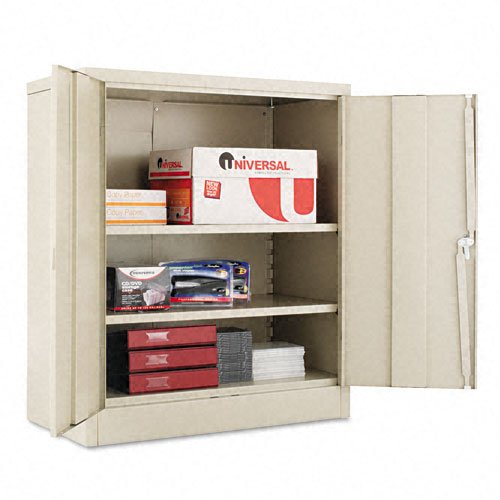 Alera 83106 36 by 18 by 42-Inch Quick-Assemble Cabinet with 1 Fixed and 2 Adjustable Shelves, Putty