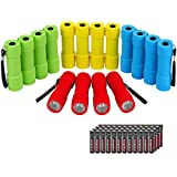 EverBrite 16-pack Mini LED Flashlight Set - Assorted 4 Colors, 48 AAA Batteries Included, for Hurricane Supplies Party Favors, Kids Gift, Camping, Hiking etc