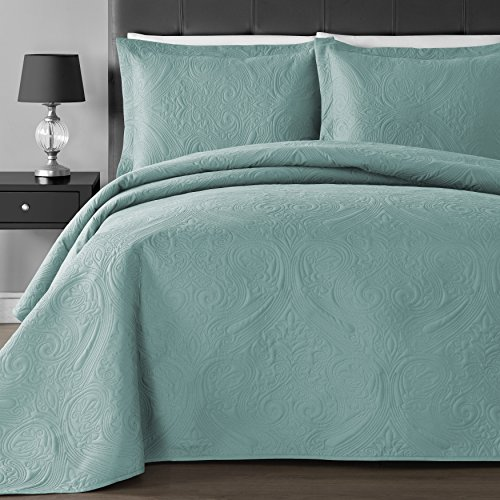 Comfy Bedding Extra Lightweight and Oversized Thermal Pressing Floral 3-piece Coverlet Set (Full/Queen, Tiffany Blue) (Tiffany Blue And White Comforter Set)