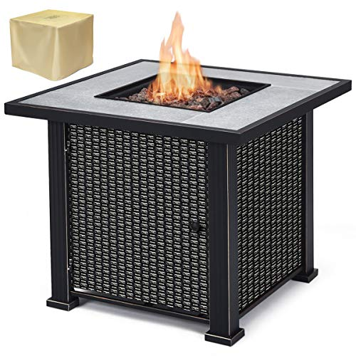 Giantex 30″ Square Propane Gas Fire Pit Table 50,000 BTUs Heater Outdoor Table w/Lava Rock & Protective Cover (Black)