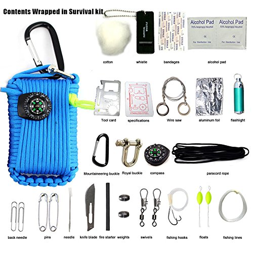 TOPAIS Paracord Grenade Emergency Survival Kit & 30 in 1 Multifunction Survival Tools Set Fishing Skill & Mini First Aid Kit & Whistle Fire Starter set Survival Knife Baits Compass & more (Blue)