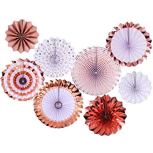 2NDTONONE 8 Pcs Rose Gold Hanging Paper Fans Maroon Foil Party Fans Rose Gold Glitter Photo Backdrop for Baby Shower Girls Birthday Party Nursery Wedding Christmas Home Decoration