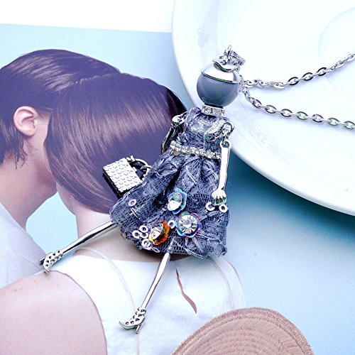 Doll Lovely Handmade Chain Long Dress Lureme Necklace nl005749 Navy Jewelry Fashion Pendant Design gA4q1xw