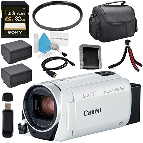 Canon VIXIA HF R800 Camcorder (White) 1960C003 + BP-727 High Capacity Battery + Sony 32GB SDHC Card + Compact Camcorder Case + Memory Card Wallet + Card Reader + Mini HDMI Cable + Tripod Bundle by Canon