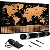 Scratch Off Map of the World by Be Good Travel - 36 x 24' Large World Scratch Off Map - Fun & Colorful Map of the World - Scratch Off Map with Outlined US States, Flags, Countries & Accessories