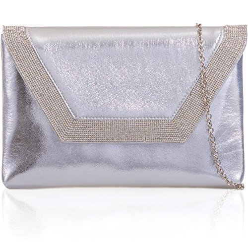 Bridal Diamante Envelope London Prom Evening Silver Flat Xardi Clutch Metallic Leather PU Bags Women PaUwS