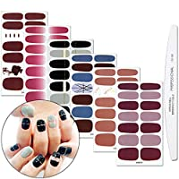 WOKOTO 6 Sheets Full Nail Stickers Pure Color Gradient Grain Full Wraps Adhesive Manicure Decals Strips With 1pcs Nail File For Girls