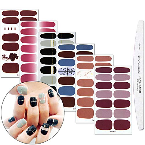 WOKOTO 6 Sheets Full Nail Stickers Pure Color Gradient Grain Full Wraps Adhesive Manicure Decals Strips With 1pcs Nail File For ()