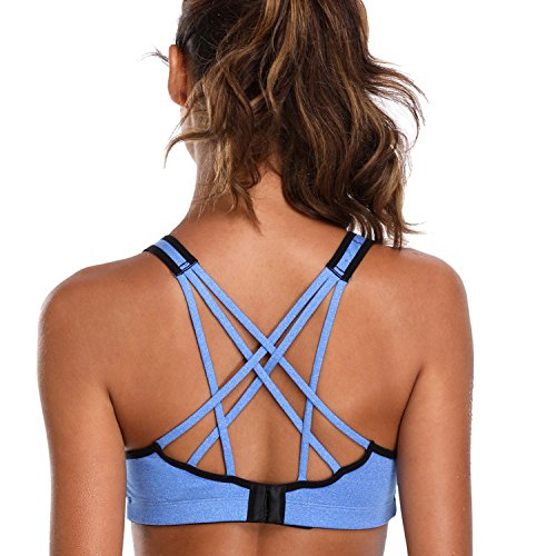 V FOR CITY Workout Sports Bras for Women Strappy CRIS Cross Sports Bra Yoga Running Fitness Athletic Activewear Tops Blue M (Sport Cross Bra)