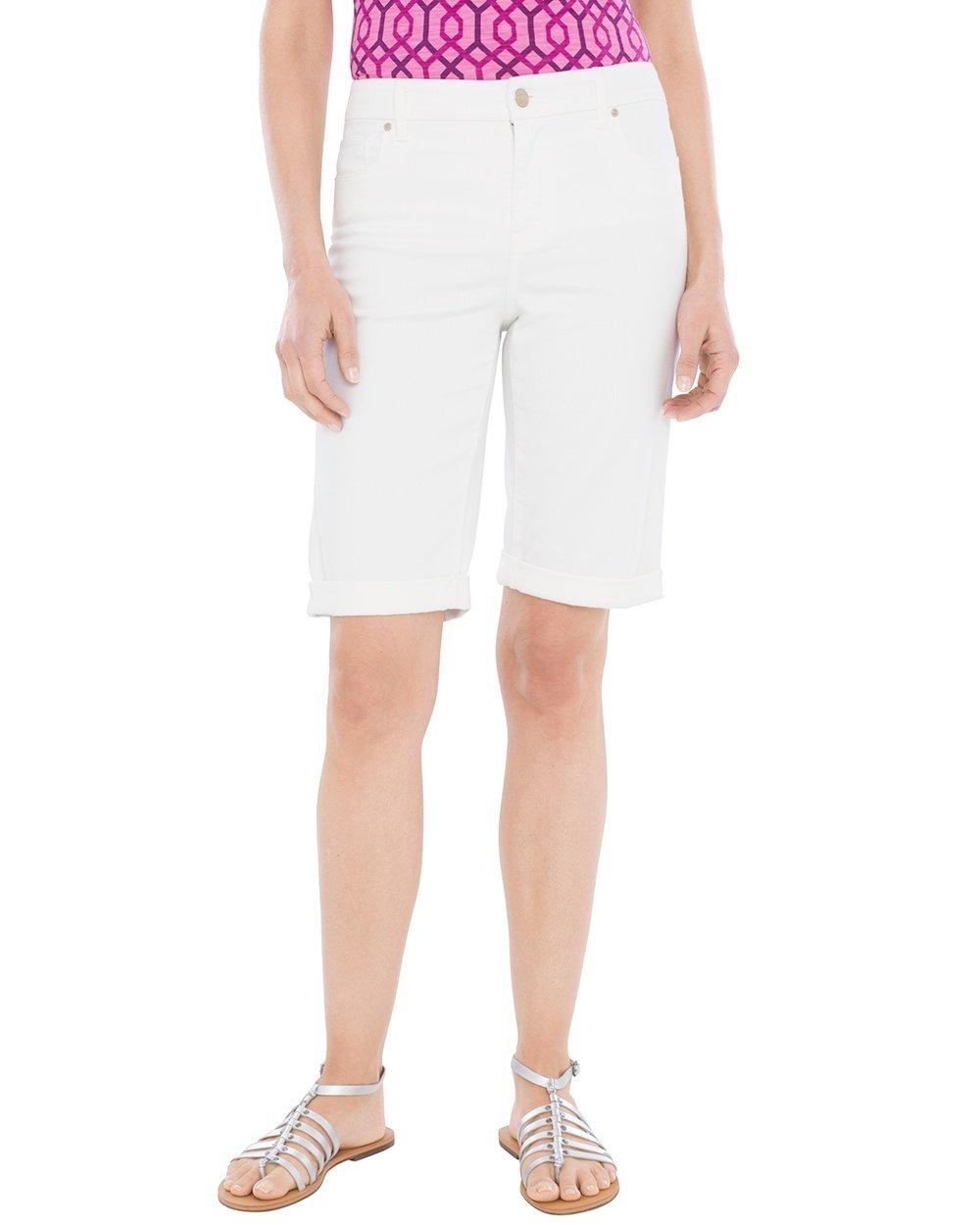Chico's Women's So Slimming Girlfriend Shorts- 12 Inch Inseam Size 10 M (1.5) White