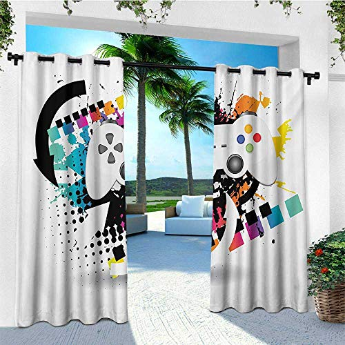 leinuoyi Gamer, Outdoor Curtain Set, Modern Console Game Comtroller with Halftone Motif and Color Splashes Background, for Patio Waterproof W108 x L108 Inch Multicolor