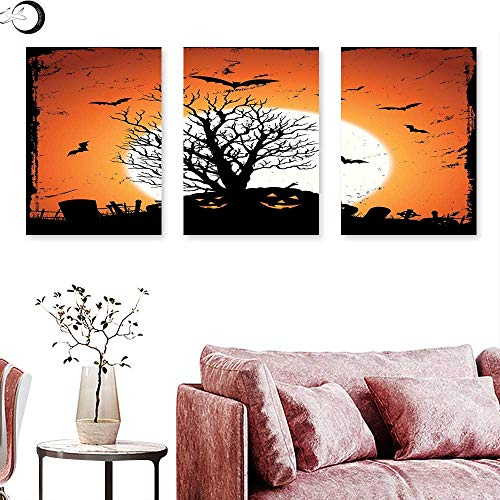 J Chief Sky Vintage Halloween Wall Decoration Grunge Halloween Image with Eerie Atmosphere Graveyard Bats Pumpkins Triptych Photo Frame Orange Black Triptych Art Canvas W 16