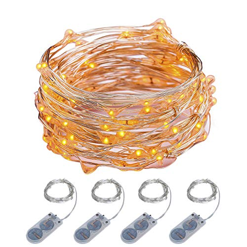 ITART Micro LED String Lights Battery Powered Set of 4 Orange Mini String Light 20 LEDs / 6ft (2m) Ultra Thin Silver Wire Rope Lights for Christmas Trees Wedding Parties Bedroom -
