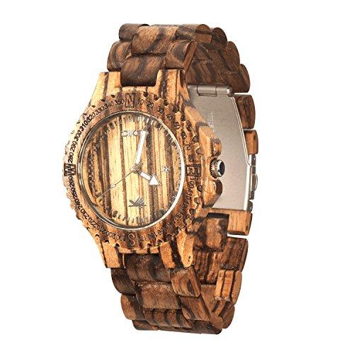 DIKOO Handmade Men's Zebra Wooden Watch Natural Wood Wrist Watch with Adjustable Band