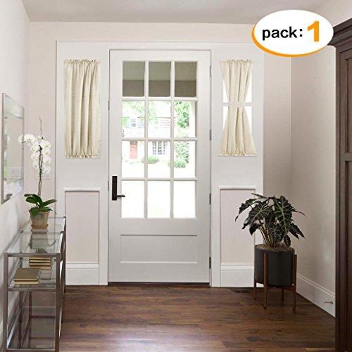 Linen Semi Sheer French Door Panel, Privacy Assured Rod Pocket Curtain Panels for Glass Door - Airy Natural Rod Pocket Linen Curtain - 25x40 - Inches - Beige, Set of 1 (Side Light Window Panel)