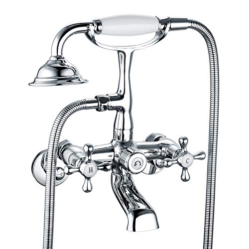 Victoria Bathroom Tub Bathtub Bath Faucet with Hand Shower Wall Mounted Two Handles Chrome (Wall Mounted 2 Handle)