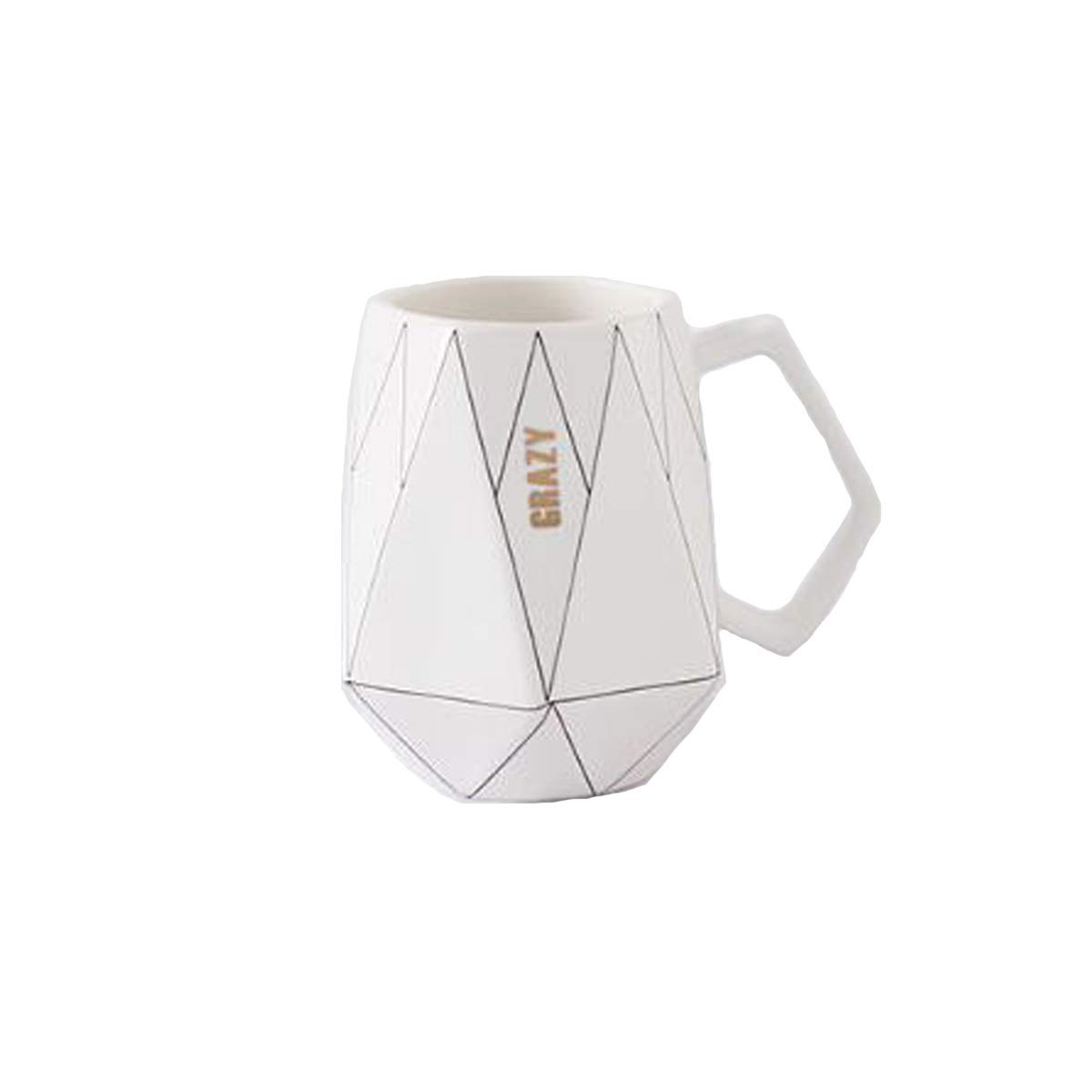 SHENGSHIHUIZHONG Polygonal Ceramic Mug, Office Coffee Milk Cup, Couple Cute Cup, Black, White 201-300ml Coffee Cup, (Color : White)