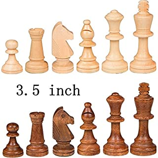 EEkiimy Wood Chess Pieces only Without Board for Replacement of Missing Pieces 3.5 inch King Chess Pieces Figure (3.5 inches)