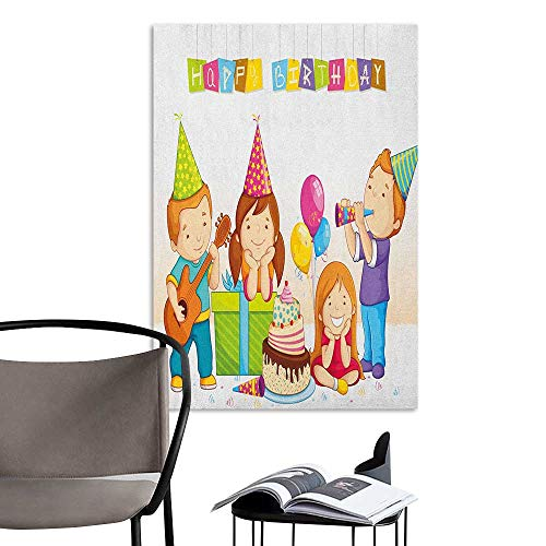 Alexandear Canvas Wall Art Kids Birthday Colorful Kindergarten Party Cone Hats Cake Boxes Music Celebration Print Multicolor Elevator Stairs Wall W8 x -
