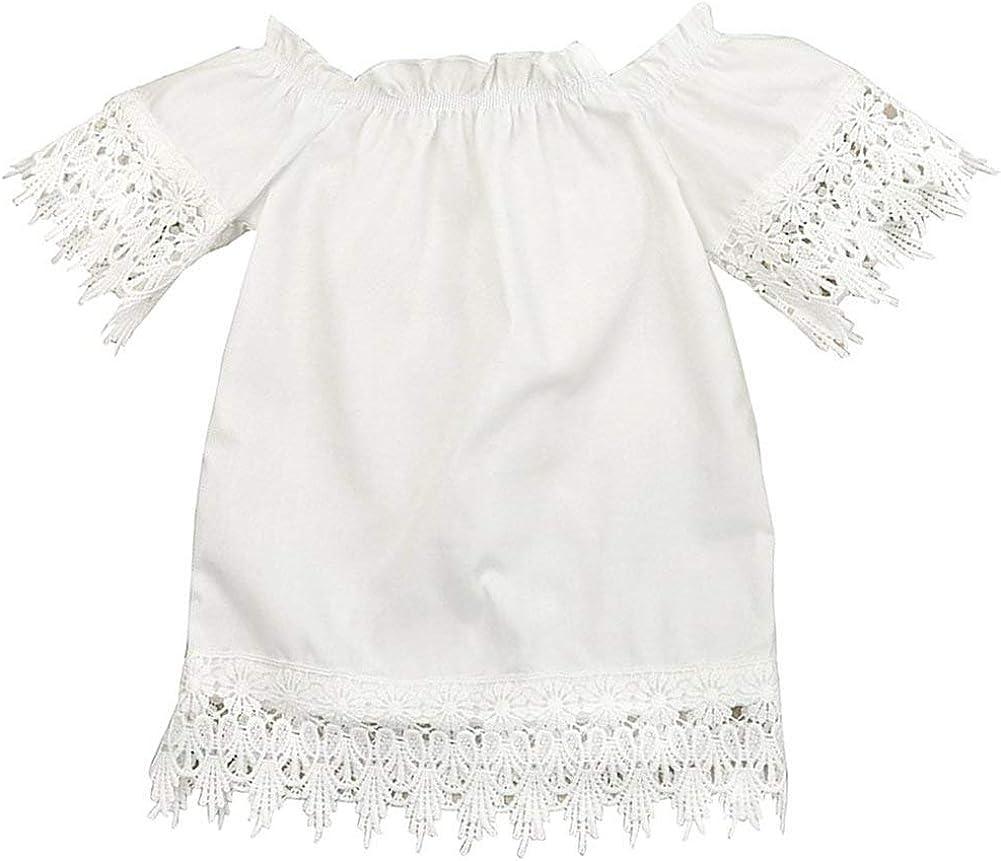 GRNSHTS Kids Baby Girls White Off Shoulder Lace Dress