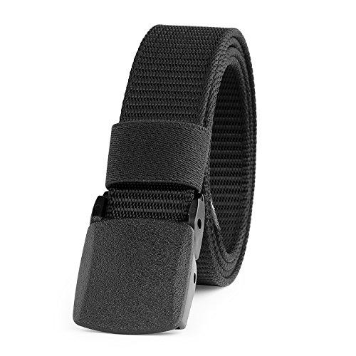 JASGOOD Camouflage Nylon Web Belt Military Style Belt for Women with Plastic Buckle (Black2)