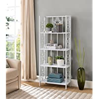 None White Finish Metal Wall 4-Tier Bookshelf Bookcase Display Cabinet