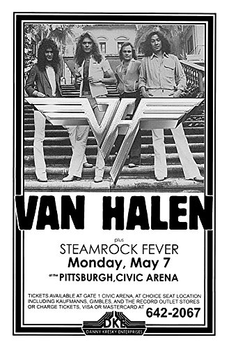 Innerwallz Van Halen Steamrock Fever Civic Arena 1979 Live Concert Retro Art Concert Poster - Features David Lee Roth, Eddie Van Halen, Alex Van Halen and Wolfgang Van -