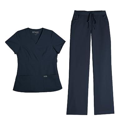 0dfc5d45eaf Barco Grey's Anatomy Women's Mock Wrap Top 4153 & Drawstring Pant 4232 Scrub  Set (Steel
