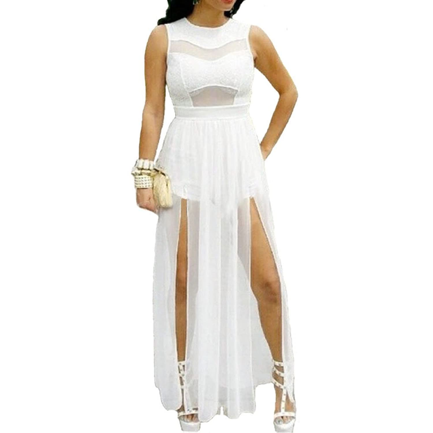 6630 - Plus Size Double Slits Lace Chiffon Jumpsuit Maxi Dress White