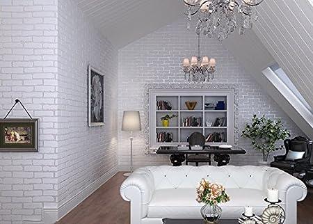 HY Pure White Brick, Non Woven Fabric, Wallpaper, Bedroom, Living