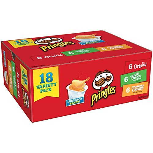 Pringles Snack Stacks Potato Crisps Chips, Flavored Variety Pack, Original, Cheddar Cheese, and Sour Cream and Onion, 18 Count