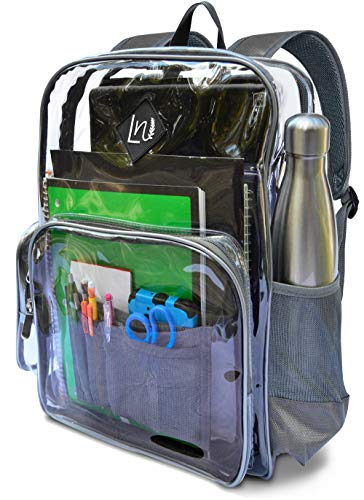 kpack 100% THICKER, Transparent for School and Adults   Durable See through Plastic PVC, Reinforced Military Nylon ()