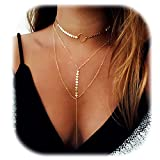 Suyi Stylish Layered Sequins Choker Necklace with Thin Long Chian Pendant for Women Lady Girl A-Gold