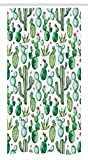 Ambesonne Green Decor Stall Shower Curtain, Mexican Texas Cactus Plants Spikes Cartoon Like Art Print, Fabric Bathroom Decor Set with Hooks, 36 W x 72 L inches, White Light Pink and Lime Green