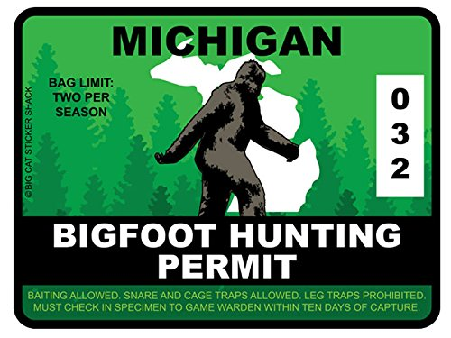Bigfoot Hunting Permit - MICHIGAN (Bumper Sticker)