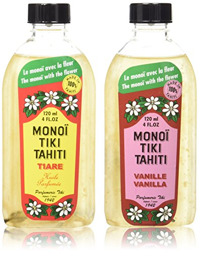 Monoi Tiare Tahiti Tiki Vanilla and Gardenia Scented Coconut Oil Bundle, 4 oz. each