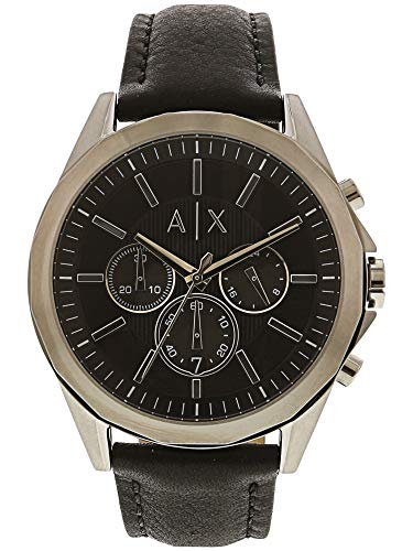 Armani Exchange Men's AX2604 Stainless Steel Black Leather Watch -