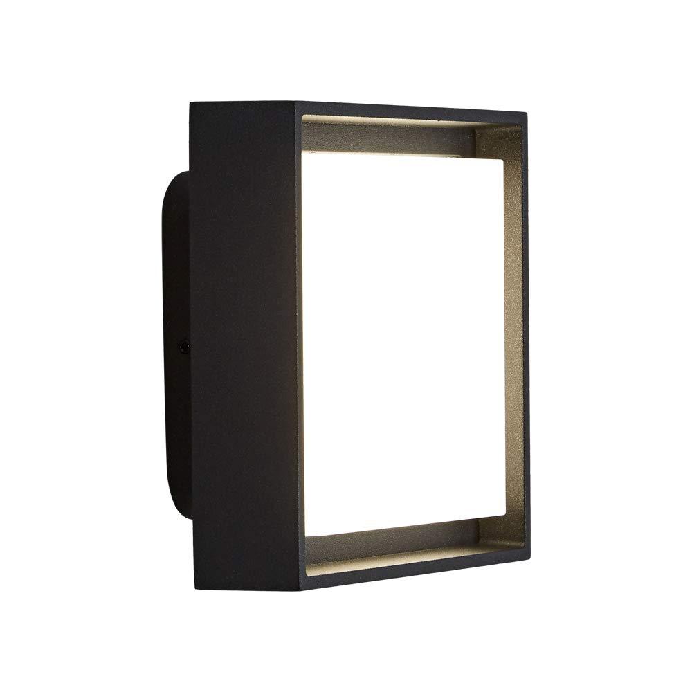 Biard Turin Applique da Parete con LED Integrato 9W Bianco Naturale IP65 in Alluminio – Design Quadrato Nero – per Interni ed Esterni