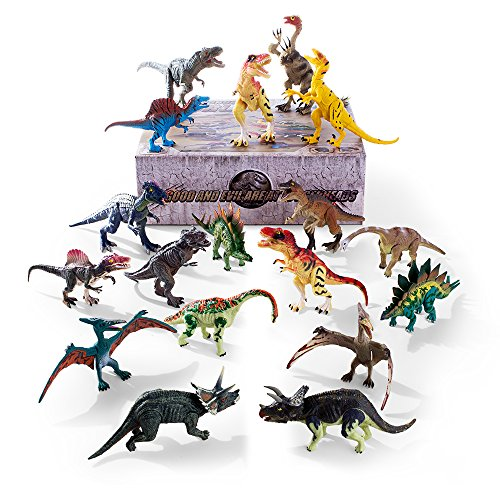 Gifts2U Dinosaur Toys, Dino Toys Kids Realistic Toy Dinosaur Figures Educational Dinosaur Toys for 3 Years Old and Up, for Kids Children Grandson's Birthday Gifts 18pcs]()